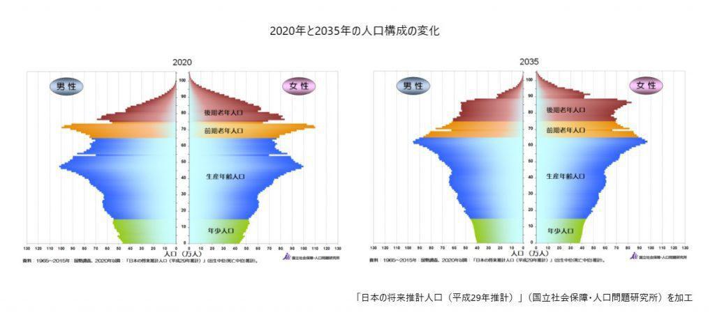 2020年と2035年の人口ピラミッド
